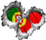 Bullet Hole Torn Metal 3 shots With Portugal Portuguese Flag Car Sticker 95x85mm